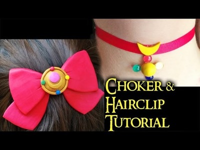 Sailor Moon Hairclip & Choker Polymer Clay Tutorial. Arcilla Polimérica