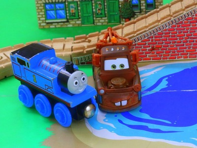 Thomas The Tank Engine Best Friends with Disney Cars Mater Tractor Tipping Play Doh Rocks off Bridge