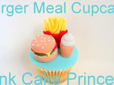 Hamburger Meal Cupcake - How to Make Miniature Hamburger, Fries & Soft Serve Ice Cream Cupcake