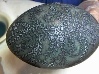 How to Etch Emu Eggs to create Pysanky or Batik style Etched Etching Eggshell