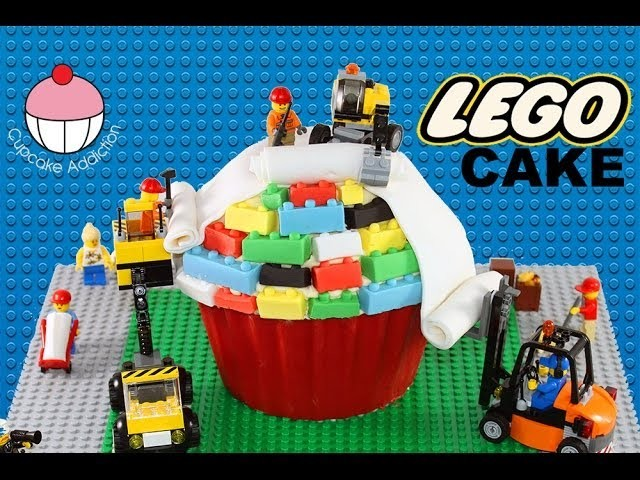 LEGO CAKE! How to Make A Lego Construction Cake - A Cupcake Addiction Tutorial