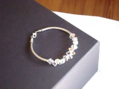 Sterling silver tube bracelet with Swarovski crystal