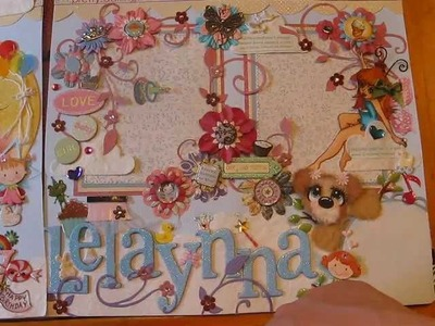 Tear Bear 12x12 Premade layout, girl birthday, shabby-chic, zoo jungle and ebay items