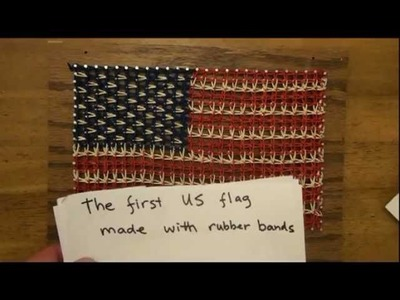 US flag made with rubber bands
