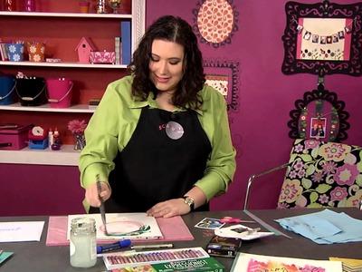 301-1 Scrapbook Soup host Julie Fei-Fan Balzer uses a resist technique to embellish a scrapbook page