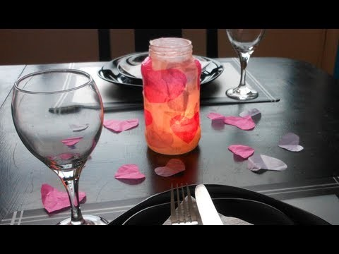 DIY: Tissue Paper Heart Candle Holder ♡ Theeasydiy #RoomDecor