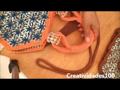 "How to crochet a handbag with soda pop tabs: ""Queta Purse"" part 4"