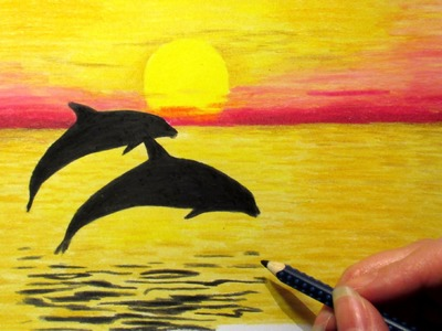 Landscape in colored pencil: Sunset and 2 dolphins