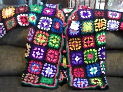 Ponchos.granny crochet jacket. Mom has talent