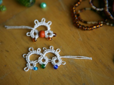 Tatting - #2 Adding Beads (b) in Needle Tatting: method one by RustiKate