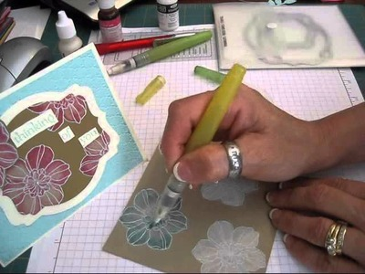 Watercolor with White craft ink frenchiestamps.com