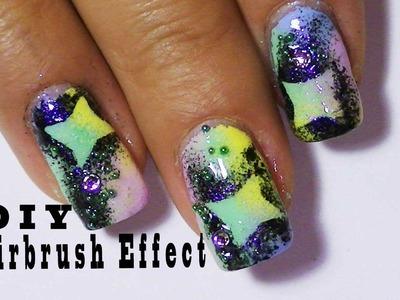 Airbrush Effect Nail Design Using  Nail Polish,Colorful Fun BACKGROUND
