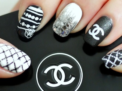 Black & White Chanel Inspired Nail Tutorial (Konad Stamping)