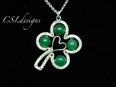 Four leaf clover wirework pendant | St. Patrick's Day