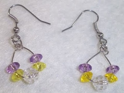 How to make a simple purple and yellow mini hoop earrings - EP