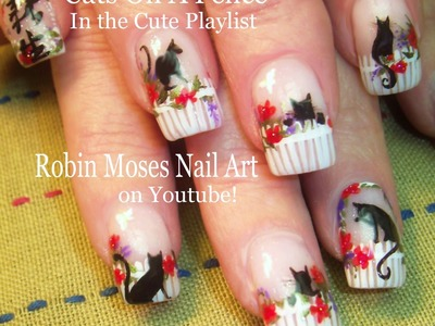 Nail Art Tutorial  Easy Kitty Nails | Cats on a Flower Fence Nail Design