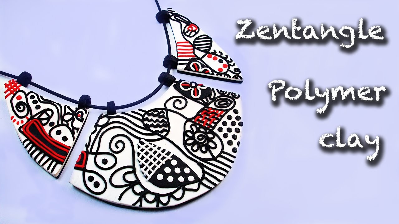 Polymer clay tutorial. How to make a Zentangle necklace.
