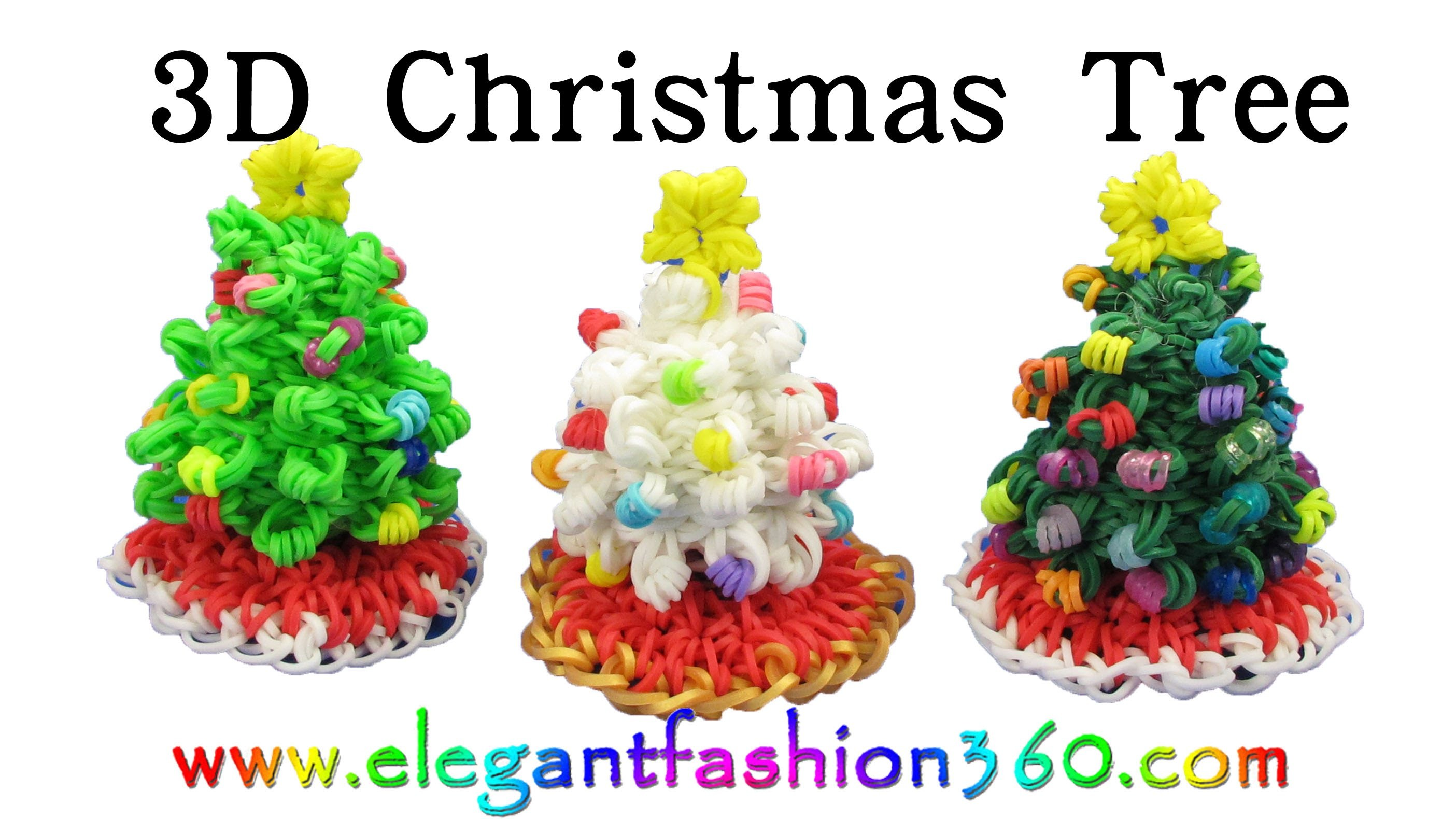 Rainbow Loom Christmas Tree 3D and Skirt Charm Holiday.Ornaments- How to Loom Band tutorial