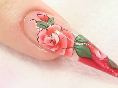 Rose Acrylic Nail Design Tutorial Video by Naio Nails