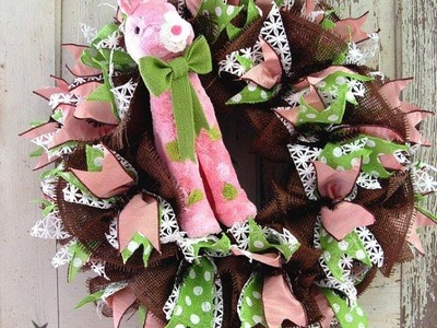 Easter Wreath Tutorial Using Chocolate Deco Paper Mesh and RAZ Bunny by Trendy Tree
