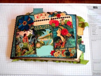 Graphic 45 Tropical Travelogue Mini Album Journal Using Strathmore Base