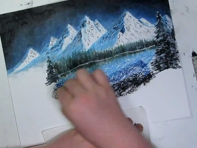 Holiday Edition- Night Mountain Landscape Speed Drawing - Oil Pastel