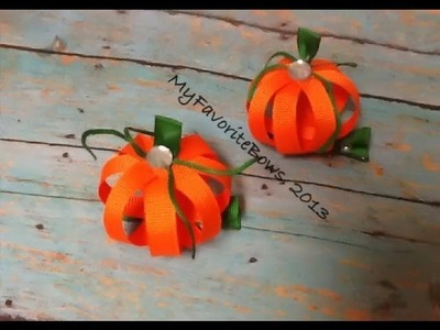 How I make a pumpkin out of ribbon (halloween hair piece)