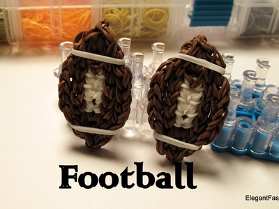 How to make Football charm - Rainbow Loom Easy