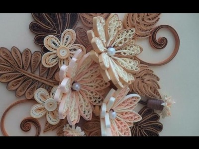 Paper Quilling  How to make Beautiful Quilling Brown.white Flower Quilling -Paper Art Quilling