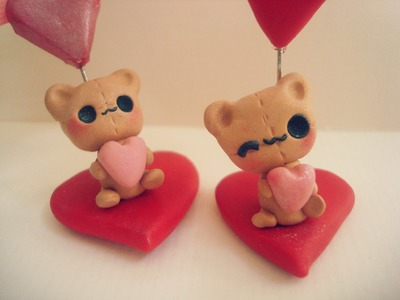 Polymer clay:kawaii Teddy Bear Photo.note holder Valentines Day gift idea tutorial