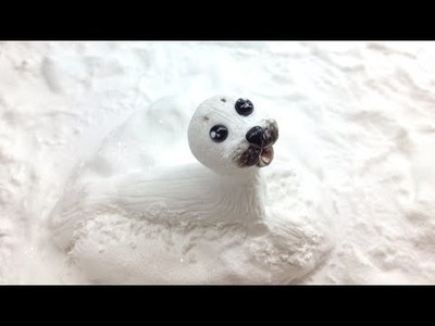 Baby seal. Polymer clay(Fimo) and snow effect with baking soda
