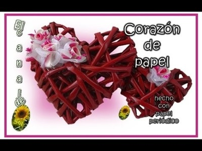 CORAZON DE PAPEL hecho con papel periódico - PAPER HEART made with newspaper