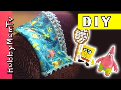 DIY Crochet Blanket Edges! Beginner Tutorial, Fast Easy SpongeBob Bubbly Blanket Gift by HobbyMomTV