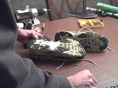 DIY studded ice running shoes