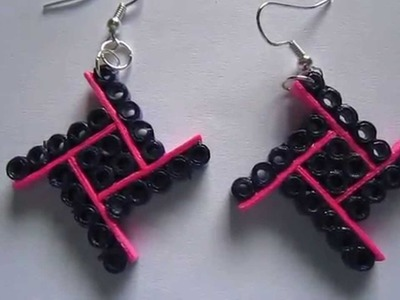Handmade Jewelry - Paper Quilling Four Square Earrings (Not Tutorial)