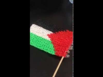 Palestine flag made out of looms bands