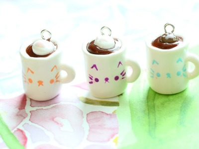 Polymer Clay Cat Coffee Mug Charm Tutorial