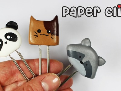 Polymer clay Kawaii Paper Clips (panda cat raccoon) TUTORIAL