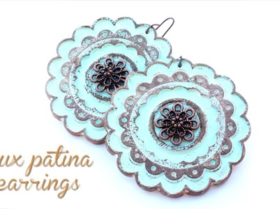 How To Make Faux Patina Earrings - Polymer Clay Tutorial