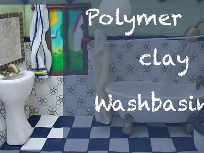 Miniature tutorial - Polymer clay Bathroom roombox Part 4 of 4 - WASHBASIN
