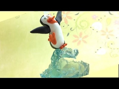 Polymer clay (Fimo) and resin- Surfer penguin