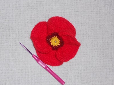 Uncinetto crochet fiore papavero Crochet poppy flower Ganchillo