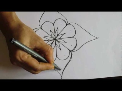 5x5 Dot Rangoli Design on Paper