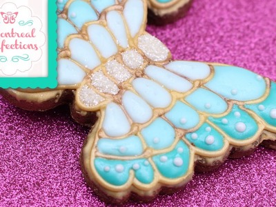 How to make a jewelled butterfly cookies - Enamelled cookie design