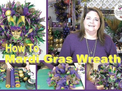 Deco Mesh Mardi Gras Door Wreath (Sneek Peek)