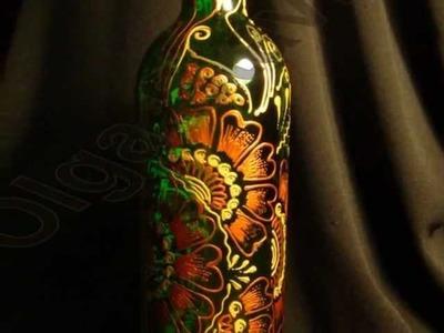 Hand painted wine bottles by Olga Stavrou
