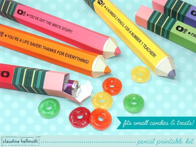 Make paper pencil candy and favor boxes printable kit