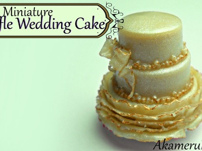 Miniature ruffle wedding cake - Polymer clay tutorial
