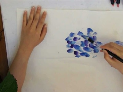 Blue Hydrangea Watercolor Doodle on Cotton Xuan Rice Paper by Amy