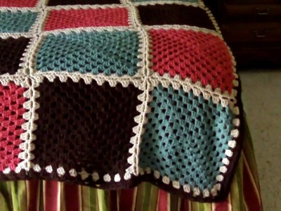 Completed Granny Square Afghan with border